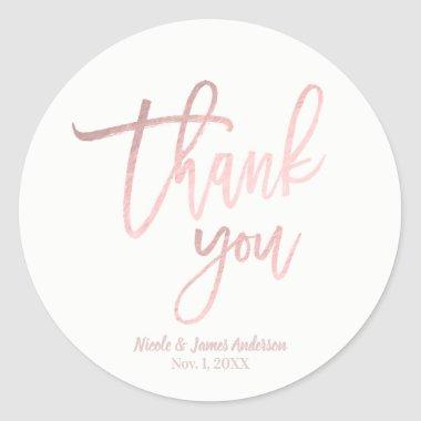 THANK YOU Rose Gold Foil Modern Script Wedding Classic Round Sticker