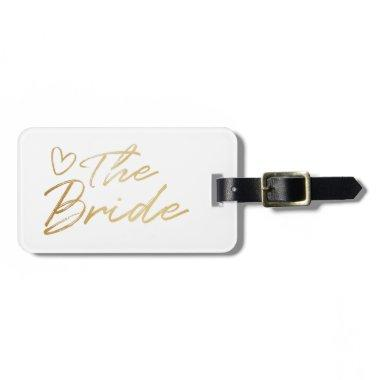 The Bride - Gold faux foil luggage tag