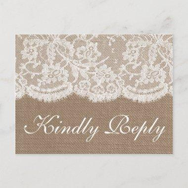 The Burlap & Lace Wedding Collection RSVP Invitation PostInvitations