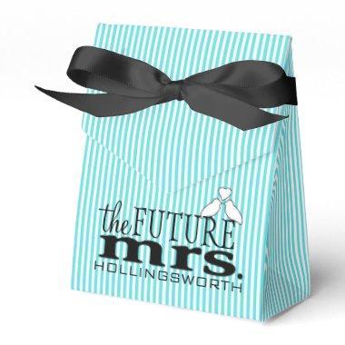 The Future Mrs. Aqua Blue Stripes Bridal Shower Favor Box