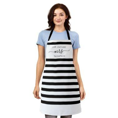 The Future Mrs Black Elegant Modern Stripes Script Apron