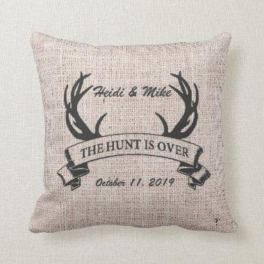 """""""The Hunt is Over"""" Rustic Antler Wedding Gift Throw Pillow"""
