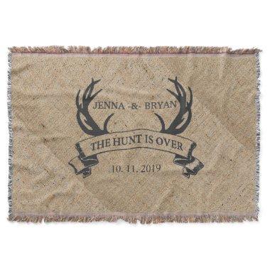 """The Hunt is Over"" Rustic Custom Wedding Gift Throw Blanket"
