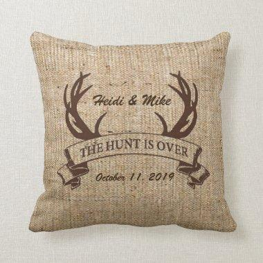 """The Hunt is Over"" Rustic Faux Burlap Wedding Gift Throw Pillow"