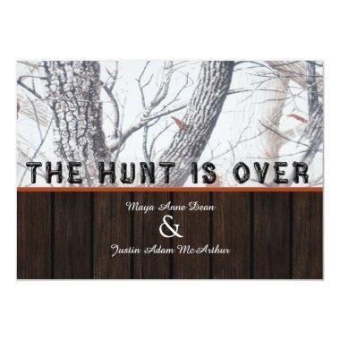 The Hunt Is Over Winter Camo Wedding Invitations