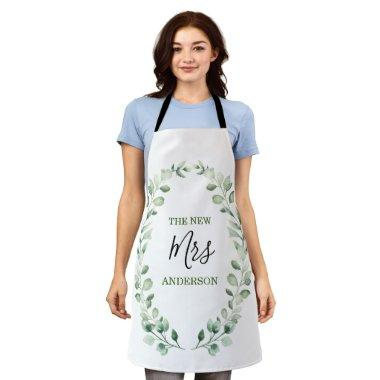 The New Mrs Greenery Wreath Personalized Wedding Apron
