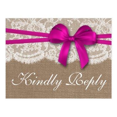 The Rustic Pink Bow Wedding Collection RSVP Post