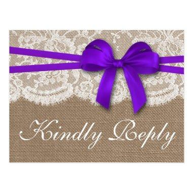 The Rustic Purple Bow Wedding Collection RSVP Post