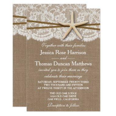 The Rustic Starfish Beach Wedding Collection Invitations