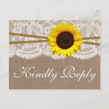 The Rustic Sunflower Wedding Collection RSVP Invitation PostInvitations