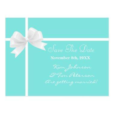 Tiffany Blue Bow Bridal Wedding Save Date Post