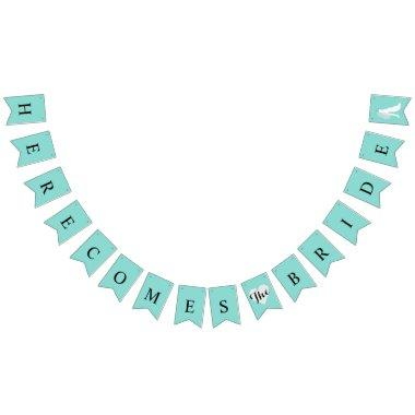 Tiffany Teal Blue Here Comes Bride Shower Party Bunting Flags