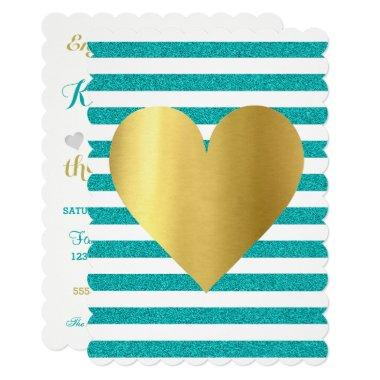 Tiffany Teal Blue Shimmer Stripes Party