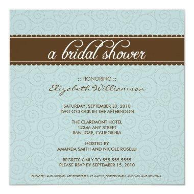 Timeless Bridal Shower Invite (aqua/chocolate)
