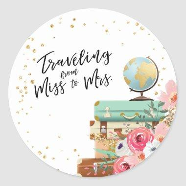 Travel Bridal shower Adventure Miss to Mrs Favor Classic Round Sticker