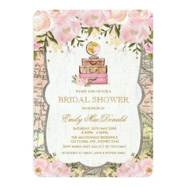 Travel Map Adventure Bridal Shower Invitations