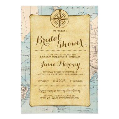 Travel Map Bridal Shower Invitations