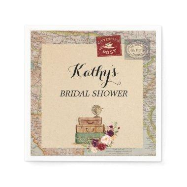 Travel Map from miss to mrs Bridal Shower Napkins