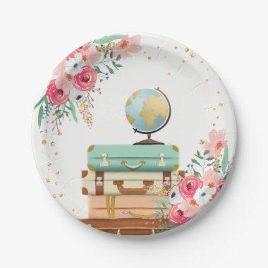 Travel Paper Plates Adventure Bridal shower Floral