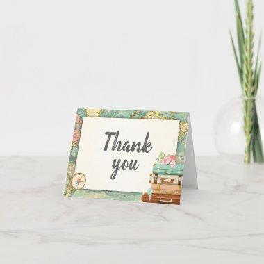 Travel Thank you Invitations World map Miss to Mrs Bridal