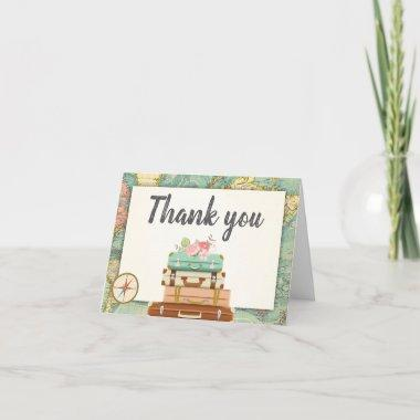 Travel Thank you Invitations World map Vintage Adventure