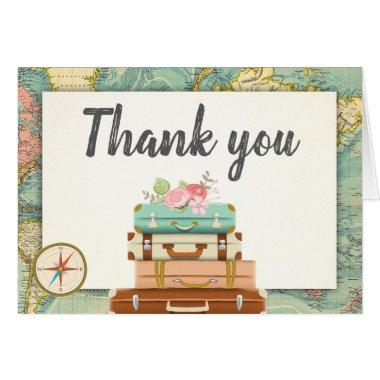 Travel Thank you  World map Vintage Adventure