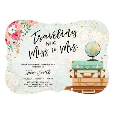 Travel themed Bridal shower Miss to Mrs ct Invitations