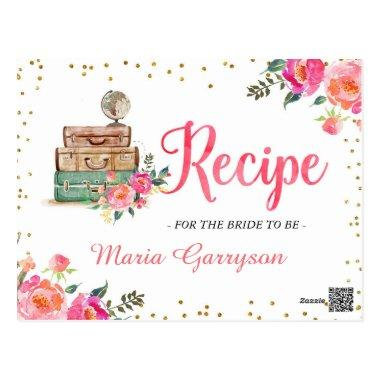 Travel Themed Bridal Shower Recipe Invitations