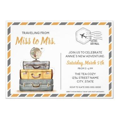 Traveling from Miss to Mrs Bridal Shower Gray Invitations