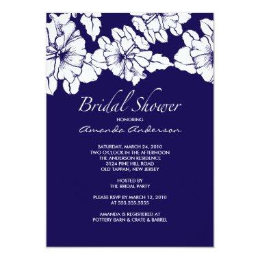 Trendy Blue & White Floral  Invite