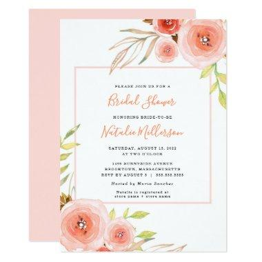 Trendy Blush pink floral  invite