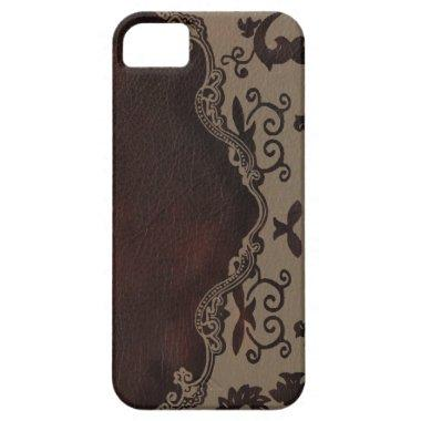 trendy chocolate Brown leather Damask iphone5 case