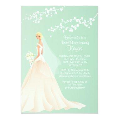 Trendy Green BLONDE Bride  Invite