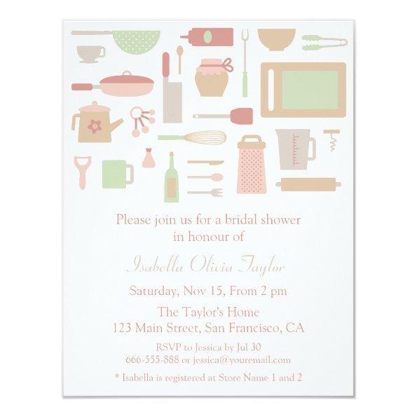 Trendy Kitchen Cooking Utensils Bridal Shower Invitations