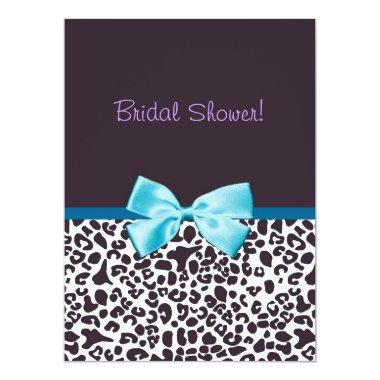 Trendy Leopard Print and Blue Ribbon Bridal Shower Invitations