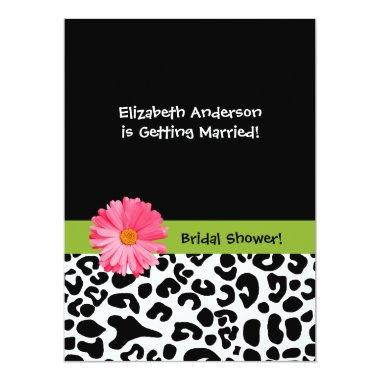 Trendy Leopard Print and Pink Daisy Bridal Shower Invitations
