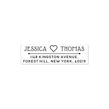 Trendy Love Heart Custom Name & Address Self-inking Stamp