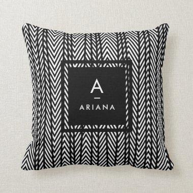 Trendy Modern Stripped Monogrammed Pillow