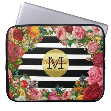 Trendy Monogram Stripes Roses Flowers Gold Glitter Computer Sleeve
