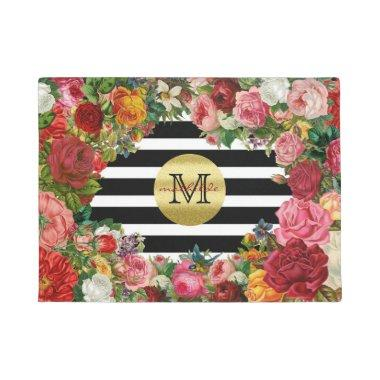 Trendy Monogram Stripes Roses Flowers Gold Glitter Doormat