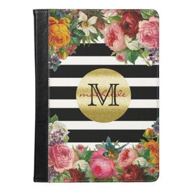 Trendy Monogram Stripes Roses Flowers Gold Glitter iPad Air Case