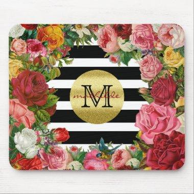 Trendy Monogram Stripes Roses Flowers Gold Glitter Mouse Pad