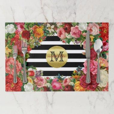 Trendy Monogram Stripes Roses Flowers Gold Glitter Paper Placemat