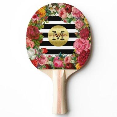Trendy Monogram Stripes Roses Flowers Gold Glitter Ping-Pong Paddle