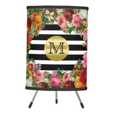 Trendy Monogram Stripes Roses Flowers Gold Glitter Tripod Lamp