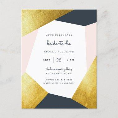 Trendy Navy, Blush & Gold Geometric Bridal Shower Invitation PostInvitations