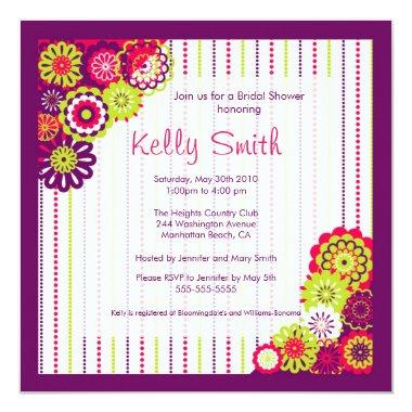 Trendy Pink and Purple flower  Invite