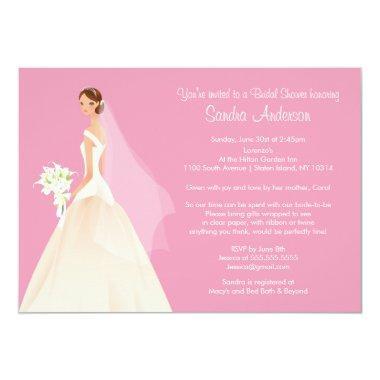 Trendy Pink BRUNETTE Bride Bridal Shower Invite
