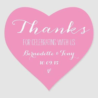 Trendy Pink Heart Bridal Shower Thank You Favor Heart Sticker