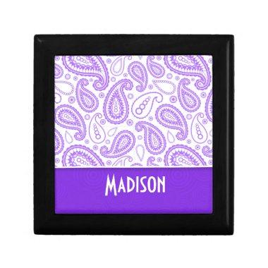 Trendy Purple Paisley Keepsake Box